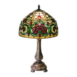 Warehouse of Tiffany - Jeweled Petite Table Lamp - In line switch. Requires one 60W bulbs . Has more than 150 pcs. cut of glass. Each glass is individually cut wrap around copper foil and soldered together. Base is made of White zinc metal. Minimal assembly required. 12 in. L x 12 in. W x 21 in. H (6 lbs.)Tiffany Style Jeweled Petite Table Lamp. The Natural variation in the glass and finish make this lamp a masterpiece of its own. The primary colors are Green, Amber and Yellow. The base is made of White zinc metal. It has more than 150 pcs. cut of glass in it. Each glass is individually cut wrap around copper foil and soldered together.