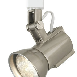"""WAC - WAC Nickel Track Head Light for Lightolier Track Systems - This WAC track lighting bullet has a sleek look. This fixture has a brushed nickel die-cast finish. Also has a heavy spun light shield that is threaded into the cylinder for a perfect fit. Made by WAC for use with Lightolier track lighting systems. Compatible with Lightolier brand track. Uses a 50 watt Par 20 bulb (not included). 3 3/16"""" wide. 4 7/8"""" long.  Brushed nickel finish.   Adjustable track light head.  Heavy spun light shield.  Made by WAC for use with Lightolier track lighting systems.  Uses a 50 watt Par 20 bulb (not included).   4 7/8"""" long.  3 3/16"""" wide."""