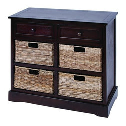 Benzara - Mastercraft Basket Cabinet with 4 Wicker Baskets - Mastercraft Basket cabinet with 4 wicker baskets. This cabinet is made with solid dark wood pieces treated for a soft to the touch feel.