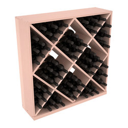Wine Racks America - Solid Diamond Storage Cube in Redwood, White Wash + Satin Finish - Elegant diamond bin style bottle openings make for simple loading of your favorite wines. This solid wooden wine cube is a perfect alternative to column-style racking kits. Double your storage capacity with back-to-back units without requiring more access area. We build this rack to our industry leading standards and your satisfaction is guaranteed.