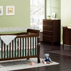 Reagan Three Piece Convertible Crib Nursery Set with Toddler Rail in Coffee