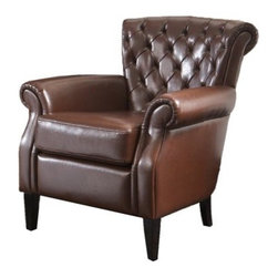 Franklin Brown Tufted Leather Club Chair - Very rarely does a seat make as strong of a statement as the Franklin Brown Tufted Leather Club Chair. Made from the richest most luxurious bonded leather this chair steals the show in any room and any lighting. From its quilted back to its overstuffed cushiony seat to its tanned wooden legs there is an unmatched quality about this piece that belongs in your home office or library.
