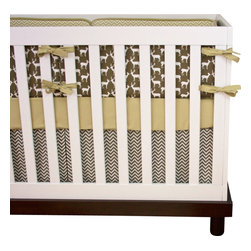 """Modified Tot - Baby Bedding Crib Set, Deer in Earth - The perfect neutral palette for your little man, this limited edition deer crib set won't last long. Featuring deer in brown, tan and taupe mixed with a modern chevron. The three piece set includes bumpers with hand-stitched fabric ties and contrasting piping, a fitted sheet with elastic all the way around and a four-sided skirt with a 15"""" drop. Bumpers are created in six separate pieces for easy transition to a toddler bed, they measure 1"""" thick and 10"""" high. All items are proudly made in the USA. All products are made to order."""
