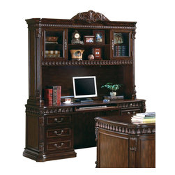 Coaster - Coaster Tucker Double Pedestal Computer Desk in Rich Brown - The Tucker home office collection features a large scale and elegant traditional style for a grand look in your room. With sturdy wood construction, in a warm Rich Brown finish, these pieces are sure to complement your decor. Felt lined top drawers, computer keyboard drawers, built in power strips and lighting, and wire management holes all add to the great function of each of these home office pieces. Intricate details including classic molding, acanthus leaf carved trim, and fluted columns create a sophisticated traditional style, for the perfect blend of beauty and modern functionality in your home office.The double pedestal computer desk is made of durable wood and veneers in a warm Rich Brown finish that will complement your home office decor beautifully. The desk offers a comfortable computer work space which includes ball bearing glides on drawers, a power strip for electrical supply, and a drop front keyboard drawer. A left pedestal has three spacious storage drawers, while the right side pedestal features a pencil drawer above a computer tower storage door. Add this rich computer desk to your home office for a functional and stylish space the you will truly love.
