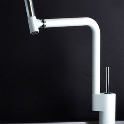 Webert 360 kitchen faucet in white/chrome - Appropriately called the 360, this long, tall kitchen faucet rinses as directed with precise water direction. The 360's hallmark is its fully pivoting/rotational head, a feature that enables you to banish dish debris from any and all angles. This faucet has a white body and chrome handles. Visit the www.webertfaucets.com or call 847-358-6884 for other finish and color options. Price shown is for the shown model only of in-stock models, which are available for immediate shipment.