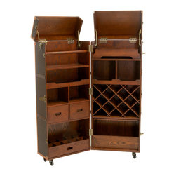 Great Deal Furniture - Rolando Rolling Bar Cabinet & Wine Rack - The Rolando Rolling Bar Cabinet offers a sleek and sophisticated solution to all of your bottle storage needs. Built with antique brass hinges, this cabinet open to reveal an organized interior space containing different shelving variations for multiple uses. The entire piece is built on black wheels for easy mobility. Inspired by vintage design, this bar cabinet exudes a traditionally trendy feel with attention to detailing, making for an impressive and functional piece.