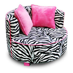 Harmony Kids - Magical Harmony Redondo Minky Kid's Club Chair - Your Tween's very own chair! Perfect size and look for today's Tween girl! Fashion forward colors, fabric and accent pillows completes the cool design that your Tween will love. Features: -Mink chair.-Strong hard wood frame is covered in poly urethane foam.-Cozy soft minky fabric is soft to the touch.-Bigger size with roomy seat.-Separate back seat cushion completes the look.-Fabric is easy to clean with mild soap and water.-Proudly made in the USA.-Color: Zebra print.-Magical Harmony collection.-Collection: Magical Harmony Kids.-Distressed: No.-Country of Manufacture: United States.Dimensions: -Overall Product Weight: 30 lbs.