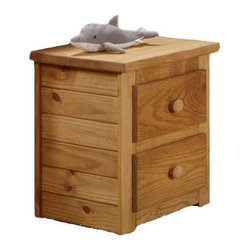 Chelsea Home - 2-Drawer Night Stand - Rustic style. Constructed for strength and durability. Drawers mounted on rolling metal glide for easy opening and closing. Warranty: One year. Made from solid pine wood. Ginger stain finish. Made in USA. No assembly required. Drawer: 12 in. W x 12 in. D x 4.5 in. H. Overall: 23 in. W x 16 in. D x 23 in. H (55 lbs.)