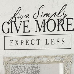 Decals for the Wall - Wall Art Decal Sticker Quote Vinyl Lettering Letter Live Simply Charity I66 - This decal says ''Live simply, Give more, Expect less''