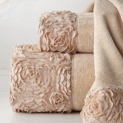 "Horchow - Mademoiselle Face Cloth - Extravagant petal-textured borders dress up linen-colored towels of sheared velour. Towels are ring-spun combed cotton. Decorative borders are polyester. Machine wash. Bath towel, 30"" x 58"". Hand towel, 16"" x 32"". Face cloth, 13""Sq. Towels are im..."