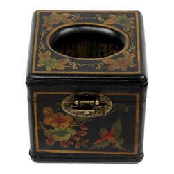 Oriental Furniture - Black Lacquer Cube Tissue Box - This attractive, highly practical tissue box cover is hand-painted with Oriental designs and finished in a medium gloss black lacquer. Crafted in the style of a traditional Asian jewelry box, it features an attractive brass medallion hasp for easy opening and closing. Perfect for adding a distinctive, sophisticated design element to your living room, dining room, bedroom, or office.