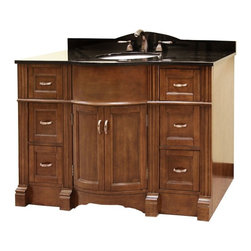 Legion Furniture - Legion Furniture WLF5045-48 Essex 49-in. Single Bathroom Vanity with Optional Mi - Shop for Bathroom from Hayneedle.com! With beautifully carved pilasters and a rounded front the Legion Furniture WLF5045-48 Essex 49-in. Single Bathroom Vanity with Optional Mirror creates a master bath that will make you a very proud homeowner. The stunning design is crafted from solid poplar and veneered plywood with metal hardware on each of its many storage compartments. This piece features six full-extension pull-out drawers and a spacious double-door cabinet for all kinds of towels toiletries and more. Choose to have the vanity delivered as is or with a granite countertop and undermount sink that best complements the rich walnut finish and add a matching wall mirror to boot! About Legion Furniture LLCLegion Furniture LLC is a Sacramento California-based company that specializes in commercial and residential furniture. The company offers thousands of items all made by expert craftsmen. Their product lines incorporate a wide variety of styles to address the needs of every designer. From contemporary vanities to traditional barstools Legion Furniture can outfit your home in the style of your dreams.