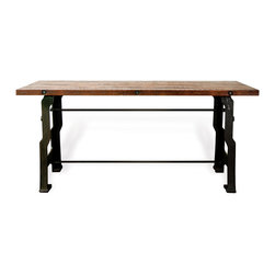 Kathy Kuo Home - Hector 'A Frame' Industrial Reclaimed Wood Cast Iron Desk - When reclaimed wood and recycled cast iron come together, something incredible happens: a piece reveals hints of history, while feeling firmly set in the future. Such is the case with this gorgeous A-frame desk, featuring a strong and sturdy cast iron base topped with wood the color of burnt caramel. A sight to be seen, this piece is - whether it's taking center stage in a home office or holding court amongst other pieces. Enjoy a one year warranty on this piece.