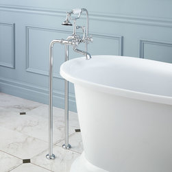 Freestanding Telephone Tub Faucet & Supplies - Contemporary Cross Handles - Contemporary style blends seemlessly with traditional design in this freestanding tub faucet.