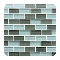 Design For Less - Clear Skies 1X2 Subway Glass Tiles - This stunninglight blue and gray 1x2 glass subway tile blend is perfect for a