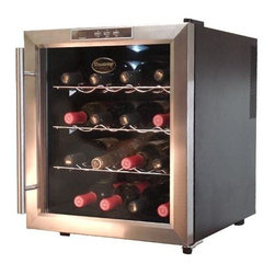 Vinotemp - Eco 16-Bottle Thermoelectric Wine Cooler - Keep up to 16 bottles chilled in this beautifully styled wine cooler. It's designed to provide the perfect balance of temperature and humidity, which refrigerators can't provide. Thermo-electric design means quieter, energy efficient operation. Freestanding unit is ideal for countertops and bars. * Free standing unit. Black color. Fits 16 bottles. 17.25 in. W x 18.63 in. D x 20.13 in. H (35 lbs.). Eco collection. Made in USA. Custom made: 3 to 5 weeks lead time. Sturdy wire shelf storage. Dual-paned glass door for better insulation and UV protection. Stainless steel door and trim. Thermoelectric cooling technology. Protects your wine from unnecessary vibration. Uses absolutely no ozone-depleting chemicals such as CFCs or HCFCs. Digital temperature display and controls. Easy push button controls. Sturdy pull-out chrome shelves. Soft, blue interior light. Ultra-quiet and energy-efficient operation. Easy to clean. Optimal ambient room temperature: 77 degree F. Temperature range: 54 - 56 degree F. Assembly Instructions. Instruction ManualThis stylish unit keeps up to 16 bottles of your favorite wine chilled. Thermoelectric cooling is not only good for your valuable wine collection but also for the environment. You will be sure that you are doing your part to preserve the environment.