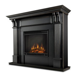 Real Flame - Ashley Indoor Electric Fireplace in Black Was - 1400 Watt heater, rated over 4700 BTUs per hour. Programmable thermostat with display in Fahrenheit or Celsius. Ultra Bright LED technology with 5 brightness settings. Digital readout display with up to 9 hours timed shut off. Dynamic ember effect. Fireplace includes wooden mantel, firebox, screen, and remote control.. Solid wood and veneered MDF construction. 48.03 in. W x 13.78 in. D x 41.25 in. H (98 lbs.)Best selling item! Handsome pillars with curved supports create an understated elegance in any room. The Vivid Flame Electric Firebox plugs into any standard outlet for convenientset up. The features include remote control, programmable thermostat, timer function, brightness settings and ultra bright Vivid Flame LED technology.