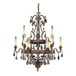 Savoy House - Marseille 9-Light Chandelier - Luxe chic design rains down upon this elegant chandelier, with crystal tear drops and bronze-stylized leaves. Go all out with this gorgeous piece, reflecting light and beauty with the flick of a switch.