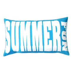 "5 Surry Lane - Indoor Outdoor Turquoise blue modern word SUMMER FUN decorative pillow - Indoor outdoor modern word SUMMER FUN pillow.  100% soft polyester.  Withstands UV Rays.  Resistant to water, mold and mildew.  Hidden zipper closure.  Down insert included.  14x24""."