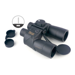 Weems & Plath 7x50 Binocular w/ Compass - The illuminated compass, rangefinder, and individual eye focus are especially suited for navigation while boating or any other outdoor activity. The specifications for this instrument are: Magnification: 7x, Objective lens: 50mm, Exit pupil: 7.1mm, Eye Relief: 27.4, Prism type: BAK-4 Porro Prism, Weight: 41 ozs., Field of view: 350 ft. at 1,000 yards, Light efficiency: 85%, Waterproof/Fogproof, 1? increment compass  Rangefinding reticle in left lens. This instrument includes: Batteries for compass light, Deluxe neck strap, Objective  ocular lens covers, Padded nylon carrying case  a 5 year guarantee.