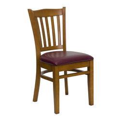 Flash Furniture - Flash Furniture Hercules Series Chair in Cherry with Burgundy Seat - Flash Furniture - Dining Chairs - XUDGW0008VRTCHYBURVGG - Provide your customers with the ultimate dining experience by offering great food, service and attractive furnishings. Wood chairs can make a lasting impression when setting up seating from intimate to casual. The commercially constructed chair makes it ideal in restaurants, hotels and lounges. To make your guests even more comfortable the seat is padded in a durable, easy to clean, vinyl upholstery. The solid beech hardwood construction makes this product very durable to provide years of use. With all of its attractive features this chair will provide the perfect complement to any commercial or residential setting. [XU-DGW0008VRT-CHY-BURV-GG]