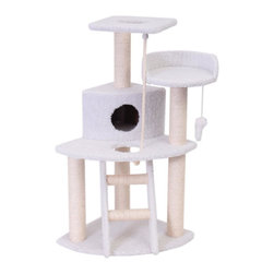 """Majestic Pet Products - 48"""" Bungalow - Sherpa - Majestic Pet Products 48"""" Casita Cat Tree is covered in elegant honey colored Faux Fur with Sisal Rope wrapped posts, that will withstand the toughest claws. This beautiful playground features a second story residence, a ladder, two perches, a rope toy, and a dangly mouse. Our"""" Casita Cat Tree assembles in minutes with simple step by step instructions and tools provided."""