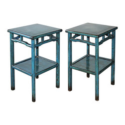 Blue Lacquered Tea Table - Blue lacquered tea table with bottom shelf. Perfect side tables next to a lounge chair or bed. Available individually at $ 1650 each.