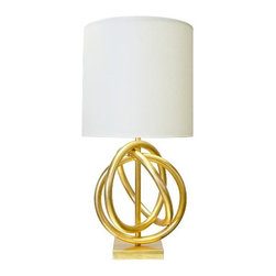 "Worlds Away - Worlds Away Nathan Lamp with Shade-Available in Two Different Colors, Gold Leaf - This lovely lamp features a three ring design and is available in Silver Leaf or Gold Leaf. The lamp is topped off with a white linen shade. The lamp measures 18"" in diameter X 37""H ad the shade is 18"" in diameter."