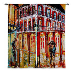 "DiaNoche Designs - Window Curtains Unlined - Karen Tarlton New Orleans French Quarter - Purchasing window curtains just got easier and better! Create a designer look to any of your living spaces with our decorative and unique ""Unlined Window Curtains. Perfect for the living room, dining room or bedroom, these artistic curtains are an easy and inexpensive way to add color and style when decorating your home.  This is a woven poly material that filters outside light and creates a privacy barrier.  Each package includes two easy-to-hang, 3 inch diameter pole-pocket curtain panels.  Curtain rod sold separately. Easy care, machine wash cold, tumbles dry low, iron low if needed.  Made in USA and Imported."