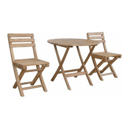 Anderson Outdoor Furniture - Chester Alabama Bistro Set A - Pardon me, but what's the soup du jour? Transform your patio into a charming sidewalk cafe with this set of solid teak table and chairs.