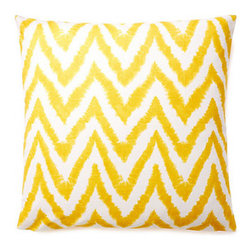 5 Surry Lane - Yellow Diva Zig Zag Throw Pillow - This vibrant, cheery pillow will breathe new life into any space.  The eye-catching zig zag motif adds the perfect dose of pattern and color.  Printed with a stunning watercolor effect.  Same fabric front and back.  Down insert included.  Hidden zipper closure.  Made in the USA.