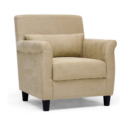 Baxton Studio - Marquis Tan Microfiber Club Chair - A comfortable addition to any sort of decor, this beige microfiber club chair would look stylish in an elegant office, against a hardwood floor, or as extra seating in your living space. It is super soft to the touch and built for long-lasting beauty.