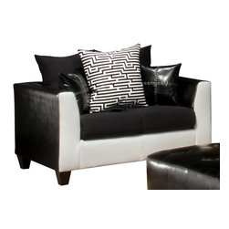 Chelsea Home Furniture - Chelsea Home Carl Loveseat in Royal White - Elpaso Black - Sierra Black - Fabric Swatch Fabric Swatches Available by Mail, Cover Choices Royal WhiteElpaso BlackSierra Black, Seating Comfort Medium, Frame Construction Hardwood, softwood and engineered wood products, Spring System Leggett  Platt Sinuous Springs, Cushion Composition Dacron Wrapped 18 Density foam Cushion, Fabric VinylSuede Combo, Loveseat 1