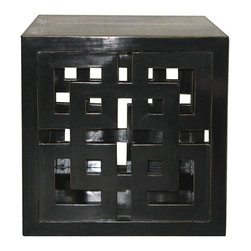 Black Lacquered Panel Cube - Black lacquer cube table with lattice design on two sides would work as a coffee table or as an end table next to a chair.