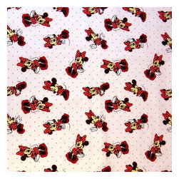 """SheetWorld - SheetWorld Fitted Crib / Toddler Sheet - Minnie Mouse Pink - Made in USA - This 100% cotton """"woven"""" crib / toddler sheet features the one and only Minnie Mouse! Our sheets are made of the highest quality fabric that's measured at a 280 tc. That means these sheets are soft and durable. Sheets are made with deep pockets and are elasticized around the entire edge which prevents it from slipping off the mattress, thereby keeping your baby safe. These sheets are so durable that they will last all through your baby's growing years. We're called SheetWorld because we produce the highest grade sheets on the market. Size: 28 x 52."""