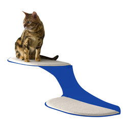 Cat Clouds Cat Shelf in Blue - Two fluffy white faux sheepskin pads float like clouds along your wall, offering the perfect landing pads for your feline. He'll love the softness of the pads and the lofty height overlooking the scene; you'll love how the shelves keep him off your furniture.