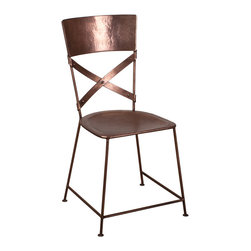 Iron Crossback Chair - From the dining room to accenting your bedroom or office, this chair makes a shining statement in any room. Made from reclaimed iron with a copper finish, its beautiful hammered texture and shine adds a rustic splash to any d�cor.