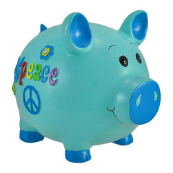 Zeckos - Blue Peace Sign Piggy Bank 10 In. - This peace loving piglet is an adorable addition to your child's room, and may encourage a saving habit. This little piggy is made of cold cast resin and features a peace sign, groovy, hand painted accents, and rhinestones on each side. It measures 8 inches tall, 10 inches long, 7 inches wide, and empties via a plastic plug on the bottom. Piggy banks make great gifts, and this one is sure to be admired by all.
