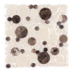 Stone & Co - Dark Emperador and Glass Mix Bubble Circle Mosaic - Finish: Polished / Shiny