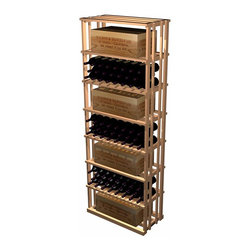Designer Series Wine Racks - Our versatile Rectangular Bin and Case wooden wine rack can store 7 wood cases with an additional one on top, or store uncrated bottles in the compartments. Product requires assembly. Please note: molding packages are available separately.
