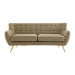 LexMod - Remark Sofa in Brown - Take notice and engage your sensibilities with this plush dual cushion, organically shaped loveseat. Remark is gracefully positioned on solid natural wood dowel legs designed according to mid-century sentiments. Whether settling in with coffee and brunch, or entering a spirited discussion with friends, Remark's polyester upholstery, two rows of finely stitched back seat buttons, and organic form ensure an eye-catching appeal at every turn. Bring depth and modernity to your contemporary living room or lounge area with the Remark mid-century modern style loveseat.