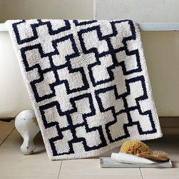 Trellis Bath Mat - Warm your toes on soft cotton patterned with graphic geometrics that take their cue from Mediterranean tilework.