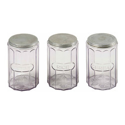 Amethyst Glass Canisters - Set of 3 transparent amethyst glass canisters with original lids, Coffee, Rice and Cereal