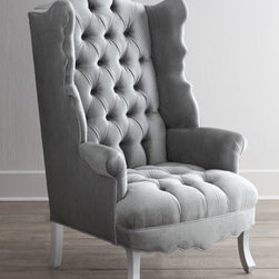 "Haute House - Haute House ""Isabella"" Chrome Wing Chair - Exclusively ours. Everything about this wing chair—its gracefully scalloped back, wings, and apron; tufting on the inside back; gently curved legs—whispers glamour. American benchmade in Los Angeles. Alder wood frame. Rayon upholstery. H..."