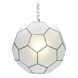 Worlds Away Small Frosted Glass Knox Pendant Light - Small frosted glass knox pendant