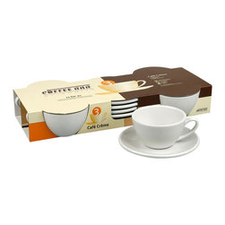 Konitz - Café Creme Cups and Saucers, Set of 4 - Heavy on the cream, please. Make like a barista and serve your guests the perfect mug of steaming hot café crème with this white porcelain cup and saucer set.