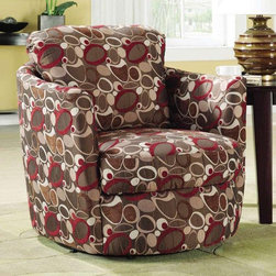 Coaster - 35 in. Accent Swivel Upholstered Chair - Contemporary style. Upholstered seat and back. Oblong pattern. Flair tapered arm. Removable seat cushion. Loose back pillow. Seat depth: 19 in.. Overall: 35 in. W x 32 in. D x 35.5 in. H. WarrantyAdd a splash of color and style into your home decor with help from this civil chair. Loose back pillow, which can be easily reversed for longer usage. You'll be set with this swivel chair in your living room.
