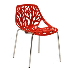 LexMod - Intricate Orchard Chair in Red Plastic - Find your inner catalyst with this activating dining chair. Watch as a tree is carefully depicted in Intricate Orchard's telling journey between enigmatic forests and song-filled remembrances. Let sunlight filter through and nurture experiences of enduring light.