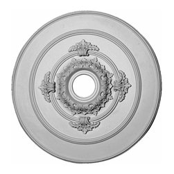 Renovators Supply - Ceiling Medallions White Urethane Ceiling Medallion 17'' Dia - Ceiling Medallions: Made of virtually indestructible  high-density  urethane our medallions are cast from  steel molds  making them the highest quality on the market. Steel molds provide a higher quality result for  pattern consistency, design clarity & overall strength & durability.  Lightweight they are  easily installed  with no special skills. Unlike plaster or wood urethane is resistant to  cracking, warping or peeling.   Factory-primed  these medallions are ready for finishing. NOTE: Images medallions with a center opening may not be represented to scale, appearing larger or smaller than they actually are.