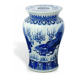 Port 68 Chow Garden Stool, Blue - Foo dogs can even be found on the always popular blue and white Chinese porcelain garden stool.